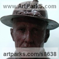 Busts and Heads Sculpture Statues statuettes Commissions Bespoke Custom Portrait Memorial Commemorative sculpture or statue by sculptor artist Richard Austin titled: 'Cornish Miner Bust' in Resin composite