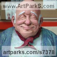 Human Figurative Sculpture by sculptor artist Richard Austin titled: 'Granddad (Caricature Portrait Humerous Coloured statue)' in Resin composite