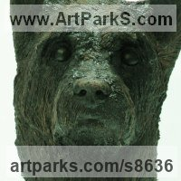 Dogs Sculpture by sculptor artist Richard Austin titled: 'Head of Terrier (Pet Portrait Head sculpture)' in Cold cast bronze