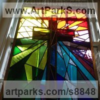 Religious Sculpture by sculptor artist Richard Field titled: 'Crucifixion (Coloured Stained Glass Church Window)' in Glass, lead and steel
