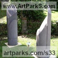 Conceptual Art Sculpture Statues often Large or Monumental Abstract Art by sculptor artist Rob J Maingay titled: 'Counter-formes (Carved stone Columnar abstract Modern statue/statuary)' in Freestone