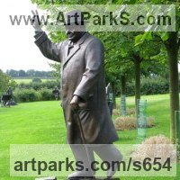 Historical Character Statues / Sculpture by sculptor artist Robin Bell titled: 'Churchill (Bronze Big Standing with V Sign sculptures)' in Cast bronze