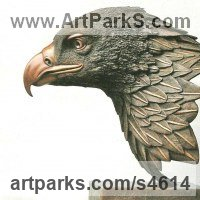 Varietal Mix of Bird Sculpture or Statues by sculptor artist Robin Bell titled: 'Goldie (Big Golden Eagle Bird of Prey Head/Bust statue sculpture)' in Bronze