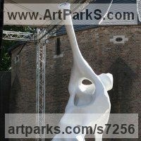 Modern Abstract Contemporary Avant Garde Sculpture or Statues or statuettes or statuary by sculptor artist Rogier Ruys titled: 'DIZZY~ Trumpet (Kneeling abstract Contemporary Trumpeter statue)' in Polyester