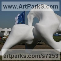 Modern Abstract Contemporary Avant Garde Sculpture or Statues or statuettes or statuary by sculptor artist Rogier Ruys titled: 'TROJE ~ Giant Horse (abstract Modern Outdoor Public statue sculpture)' in Polyester