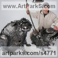 Prehistoric Monsters Sculpture and Mthical Monsters like Dragons and Hypogriphs by sculptor artist Roman Velihurskiy titled: 'Dog Brothers (Grotesque Caricature Steel fabricated sculpture/statues)' in Iron, 3 mm.