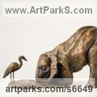 Young Animal Bird, Reptile or Amphibian and possibly Insects Statues by sculptor artist Rosamond Lloyd titled: 'Egret and Elephant Calf (Small/little bronze statuettes/figurines)' in Bronze or bronze resin
