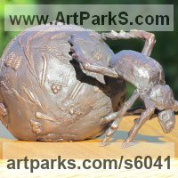 Insect Sculpture, to include Bees, Ants, Moths Butterflies etc by sculptor artist Rosie Sturgis titled: 'Dung Beetle (bronze with Elephant Dung sculptures/statuettes/statues)' in Bronze