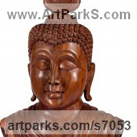 Classical Oriental Sculpture by sculptor artist Roxanne Pocha titled: 'Buddha Head (Calm Carved Wood Bust carving/statue/sculpture for sale)' in Mahogany wood
