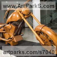 Transport including Road / Rail / Air / Aircraft / Sea / Maritime by sculptor artist Roxanne Pocha titled: 'Harley Davidson Dream Machine (Carved Wood life size collectors statue)' in Teak
