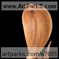 Reptiles Sculpture and Amphibian Sculpture by sculptor artist Roxanne Pocha titled: 'Spitting Cobra (Carved Wooden Realistic study sculpture statuette)' in Mahogany wood