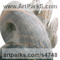 Birds Abstract Contemporary Stylised l Minimalist Sculpture / Statues by sculptor artist Sandra Borges titled: 'Arraiolos 1 - Ave (abstract Leaf Pattern Motif Carved marble statues)' in Marble