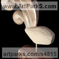 Animal Form: Abstract Sculpture by sculptor artist Sandra Borges titled: 'Arraiolos 6 - Galo (abstract stone Feather sculpture)' in Breccia and limestone