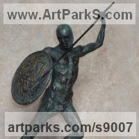 Maquette For Larger Monumental Massive Big or Large statue or sculpture by sculptor artist Scott Shore titled: 'Corinthian With Shield (Small nude Greek Warrior statue)' in Bronze