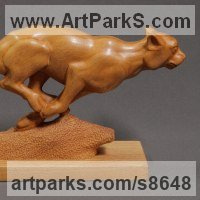 Cats Sculpture by sculptor artist Sergey Chechenov titled: 'Hunting (Cheetah Carved Wood Running Chasing statue)' in Wood:ash bolivian
