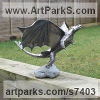 Prehistoric Monsters Sculpture and Mthical Monsters like Dragons and Hypogriphs by sculptor artist Shaun McPherson titled: 'Steel Dragon (Small garden Indoor sculpture statue)' in Mild steel