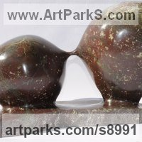 Modern Abstract Contemporary Avant Garde Sculpture or Statues or statuettes or statuary by sculptor artist Simon Burns-Cox titled: 'Parting Is Such Sweet Sorrow (abstract Circular statue)' in Polyphant