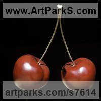 Fruit Sculpture by sculptor artist Simon Gudgeon titled: 'Cherries (Pair Large Outsize Red Bronze sculptures statues statuettes)' in Bronze