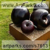 Fruit Sculpture by sculptor artist Simon Gudgeon titled: 'Cherry (single) (Bronze Red Outdoor garden sculpture)' in Bronze
