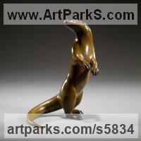 Badger, Otter, Beaver, Weasel, Wombat Sculpture by sculptor artist Simon Gudgeon titled: 'Otter - The Collection (Small bronze Wild Animal statuette/Figurine)' in Bronze