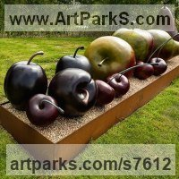 Fruit Sculpture by sculptor artist Simon Gudgeon titled: 'Plums (Big Bronze garden or Yard Outdoor sculptures)' in Bronze