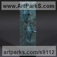 Birds in Flight, Birds Flying Sculpture or Statues by sculptor artist Simon Gudgeon titled: 'Swifts' in Bronze