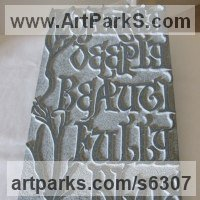 Carved and Engraved Lettering Writing Inscriptions Poems Quotations Carving Panels Sculpture by sculptor artist Simon Keeley titled: 'Darkly Deeply (Carved Bas Relief Medieval Lettering/Poem Panel)' in Stone