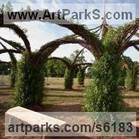 Willow, Bark and moss sculpture / statue / statuette by sculptor artist Sophie Courtiour titled: 'Living Willow Cathedral (Woven Architectural Commission garden sculpture)' in Willow