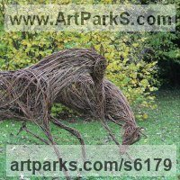 Willow, Bark and moss sculpture / statue / statuette by sculptor artist Sophie Courtiour titled: 'Playing Horses (Willow Prancing Horses statues)' in Willow