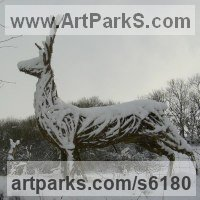 Deer Sculpture by sculptor artist Sophie Courtiour titled: 'Stag (Woven Willow life size garden or Yard Bespoke sculpture/statue)' in Willow
