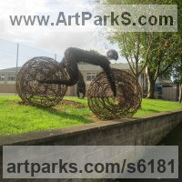 Willow, Bark and mosssculpture / statue / statuette by sculptor artist Sophie Courtiour titled: 'The Human Bicycle (Willow Commission garden/Yard statue/sculptures)' in Willow