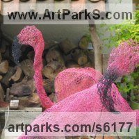Water Birds / Water Fowl / Seabirds / Waders by sculptor artist Sophie Courtiour titled: 'Wire Flamingo (Chicken Wire Netting/Mesh Pink garden sculpture/statue)' in Wire