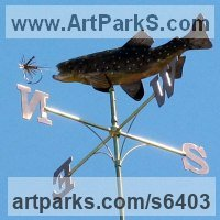 Wind Vanes and Weather Vanes and Weather Cocks by sculptor artist Stanley Jankowski titled: 'Brown Trout Weathervane (Personalised Commission Weather Cock)' in Copper and brass
