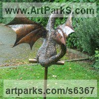 Prehistoric Monsters Sculpture and Mthical Monsters like Dragons and Hypogriphs by sculptor artist Stanley Jankowski titled: 'Copper Dragon (life size Baby Dragon sculpture for Yard or garden)' in Copper
