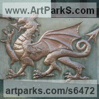 Dragons sculpture by sculptor artist Stanley Jankowski titled: 'Welsh Dragon (Wall Plaque High Relief Wall hung statue sculpture)' in Copper