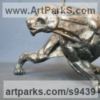 Cats Wild and Big Cats Sculpture by sculptor artist Stephane Deguilhen titled: 'Black Panther (stylised Prowling Big Cat statue)' in Bronze