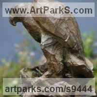 Cast From Original Carved or Found Wood or Stone sculpture statue by sculptor artist Stephane Deguilhen titled: 'The Claw (Bronze little Perched Eagle sculpture)' in Bronze