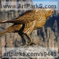 Cast From Original Carved or Found Wood or Stone sculpture statue by sculptor artist Stephane Deguilhen titled: 'The Hawk (Perched Bronze Bird of Prey statues)' in Bronze