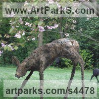 Deer Sculpture by sculptor artist Stephen Charlton titled: 'Bronze Fawn (Standing Lifesize Deer garden statue)' in Bronze