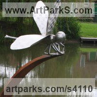 Recycled Materials / Objets trouvees or Upcycle sculpture Statues statuettes by sculptor artist Stephen Charnock titled: 'Dragon Fly (Metal Steel Giant Fly garden statue/sculptures/decoratio)' in Corten steel & stainless steel
