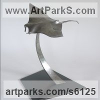 Sharks Rays Devil Fish Dogfish Sculpture Statues by sculptor artist Stephen Page titled: 'Manta Ray (Manta Rays Devil Fish statues/statuettes)' in Bronze