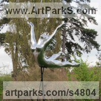 Figurative Public Art Sculpture by sculptor artist Steve Yeates titled: 'The Flying Leap (nude Silver Coloured Woman statues/sculptures)' in Mirrored aluminium on fibre glass