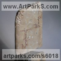 Vegetable Sculpture / Statues / statuettes by sculptor artist Tabitha Sheehn Davis titled: 'Broken Menhir (little Carved stone Standing stone sculpture/statue)' in Limestone