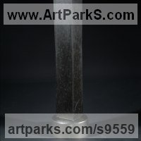 Column Pillar Columnar Stele sculpture statue statuary by sculptor artist Tam�s Bar�z titled: 'Divergence (Contemporary Vertical Minimalist sculpturee)' in Andesite, stainless steel