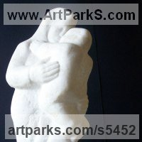 Parent - Child Sculpture by sculptor artist Tania Ivanova Tzanova titled: 'Motherhood (Small Contemporary Carved marble Mother and Child statues)' in Marble
