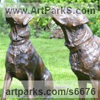 Friendship Friends chummyness Amicability Camaraderie Cordility Kindred Spirit by sculptor artist Tanya Russell titled: 'Labradors (Pair Realistic Life Like Portrait statue)' in Cold cast bronze or foundry bronze