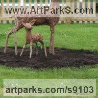 Young Animals including Cubs Calfs Kittens Foals Yearlings Lambs Fawns Pupies Pups Joeys Young sculpture Statues statuettes by sculptor artist Tessa Hayward titled: 'Fawn (Young Deer StandingYard garden statue)' in Willow