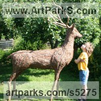 Deer Sculpture by sculptor artist Tessa Hayward titled: 'Red Stag (life size Deer garden/Yard sculpture/statue of Found Objec)'