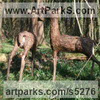 Deer Sculpture by sculptor artist Tessa Hayward titled: 'Fallow Deer (Standing Alert Hinds sculpture/statue for Yard/garden)'
