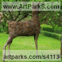 Deer Sculpture by sculptor artist Tessa Hayward titled: 'Standing Alert Deer (Upcycled life size Deer sculpture)' in Wire, wood, bark and copper